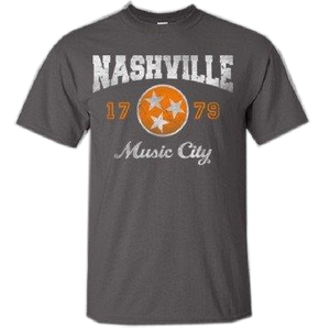 Nashville Charcoal Tee with Orange Logo
