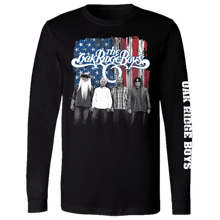 Load image into Gallery viewer, Oak Ridge Long Sleeve Black Tee- Red White and Blue Photo
