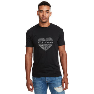 Paul Cardall Unisex Black Word Heart Tee