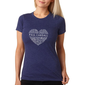 Paul Cardall Ladies Fitted Midnight Navy Word Heart Tee