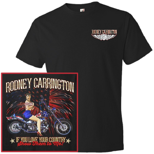 Rodney Carrington Black Tee- Motorcycle w/ Fireworks Design