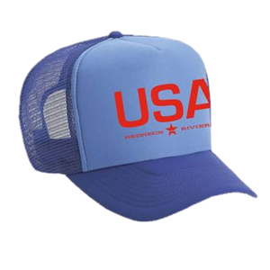 Redneck Riviera Columbia Blue and Royal USA Trucker Hat