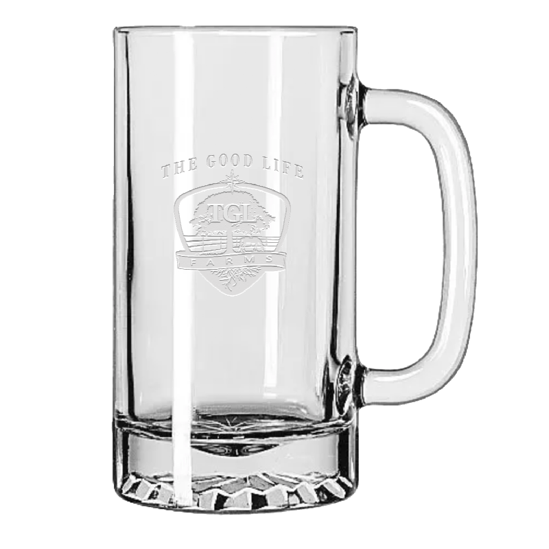 TGL Farms etched beer mug