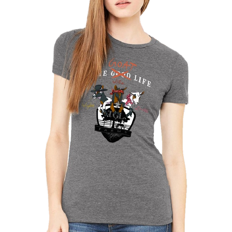 TGL Farms Ladies Slim Fit Deep Heather Goat Life Tee