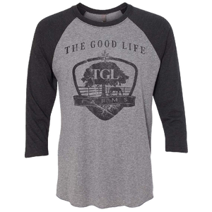 TGL Farms Vintage Black and Premium Heather Raglan Tee