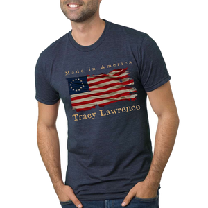 Tracy Lawrence Tri Navy Flag Tee