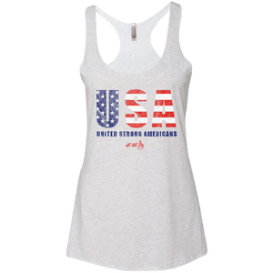We Are One Ladies Heather White USA Tank