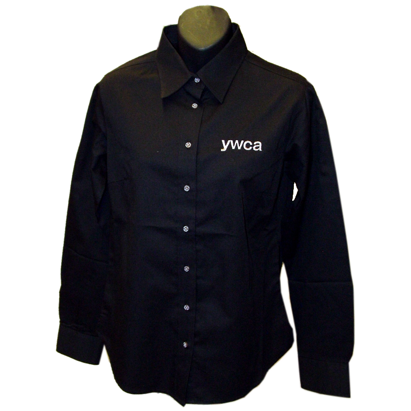 YWCA Ladies Black Button Up Shirt