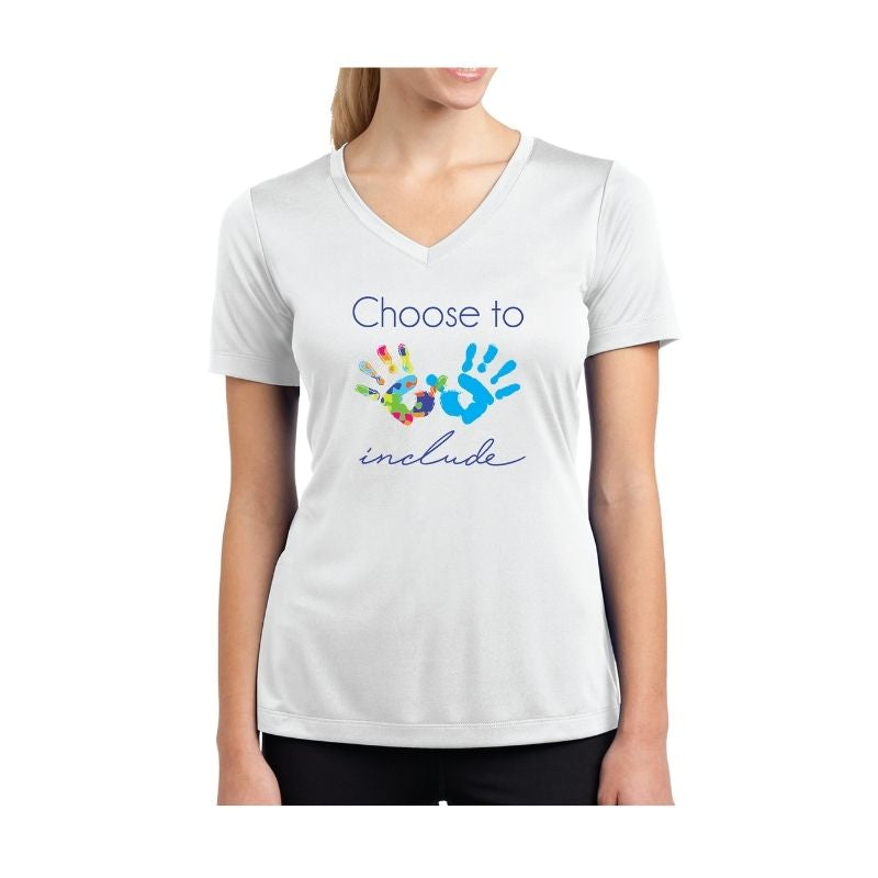 Autism Awareness Ladies Competitor V-Neck T-Shirt - Choose to Include