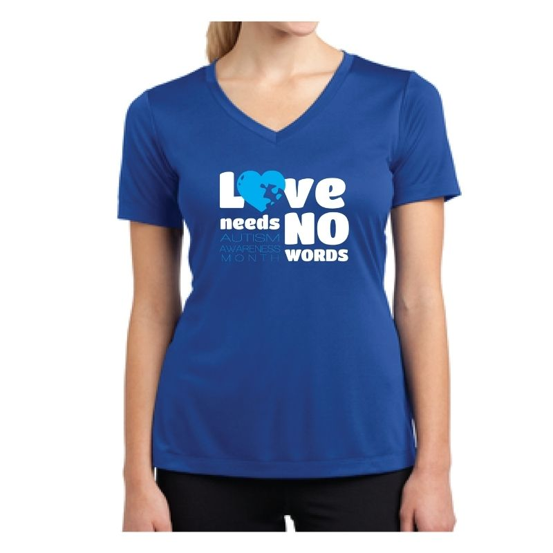 Autism Awareness Ladies Competitor V-Neck T-Shirt - LOVE