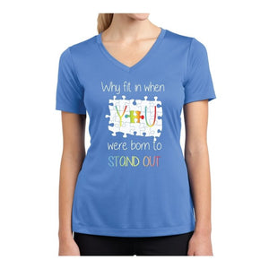 Autism Awareness Ladies Competitor V-Neck T-Shirt - STAND OUT
