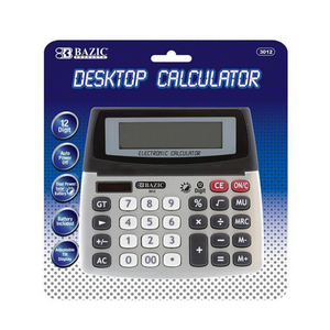 BAZIC 12-Digit Dual Power Desktop Calculator w/ Adjustable Display