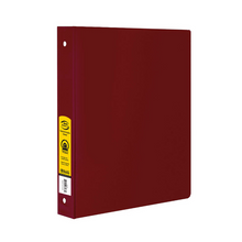 "Load image into Gallery viewer, BAZIC 1"" Burgundy 3-Ring Binder w/ 2-Pockets"