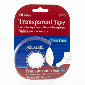 "BAZIC 3/4"" X 1296"" Transparent Tape w/ Dispenser"