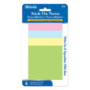 "BAZIC 50 Ct. 3"" X 3"" Stick On Note (4/Pack)"