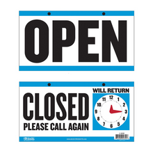 "Load image into Gallery viewer, BAZIC 6"" X 11.5"" ""CLOSED"" Clock Sign w/ ""OPEN"" sign on back"