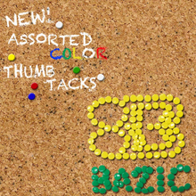 Load image into Gallery viewer, BAZIC Assorted Color Thumb Tack (200/Pack)