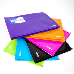 BAZIC Assorted Colour Letter Size Zip Envelope