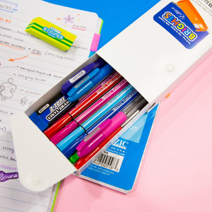 BAZIC Bright Color Slider Pencil Case Display