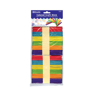 BAZIC Coloured Craft Stick (100/Pack)