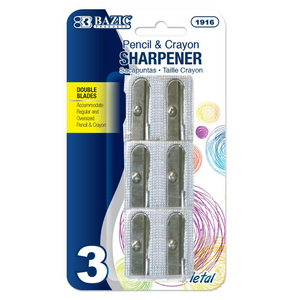 BAZIC Dual Blades Metal Pencil Sharpener (3/Pack)