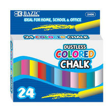 Load image into Gallery viewer, BAZIC Dustless Assorted Colour Chalk (24/Box)