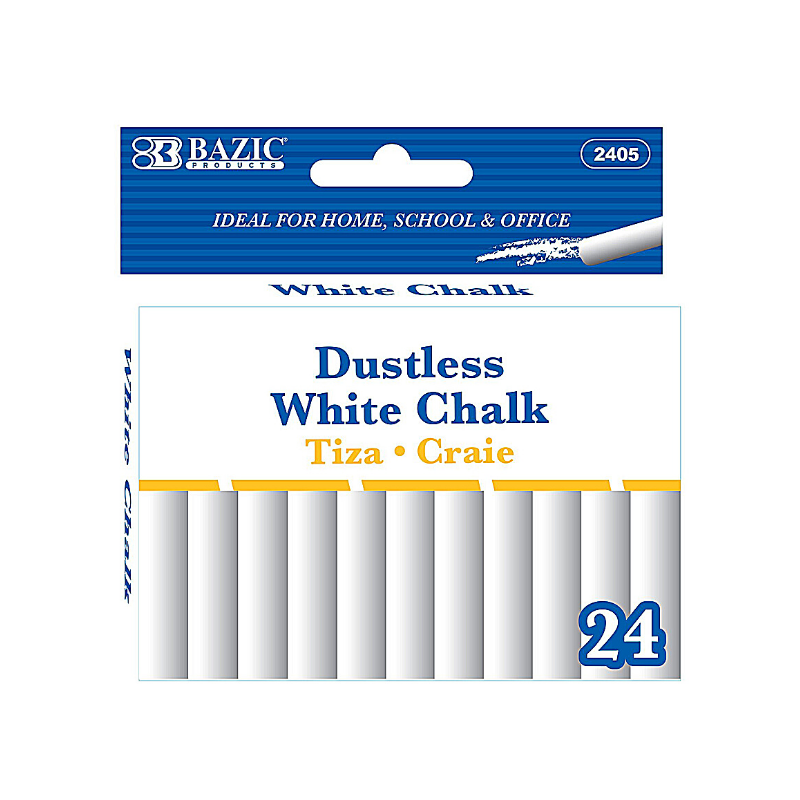 BAZIC Dustless White Chalk (24/Pack)