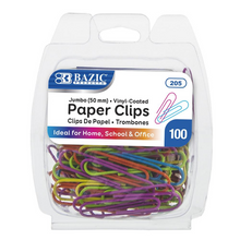 Load image into Gallery viewer, BAZIC Jumbo (50mm) Color Paper Clips (100/Pack)