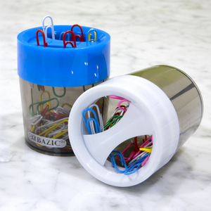 BAZIC Magnetic Paper Clips Holder w/ Assorted Colour No. 1 Paper Clip