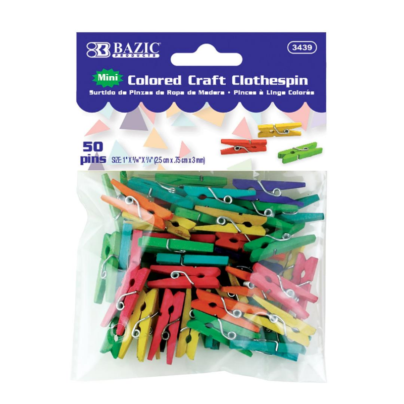 BAZIC Mini Coloured Clothes Pin (40/Pack)