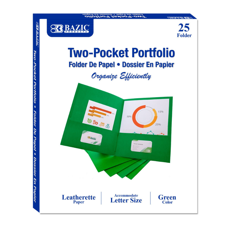 BAZIC Premium Green Color 2-Pockets Portfolios