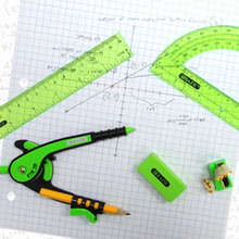 "Load image into Gallery viewer, BAZIC Scale-Arm Compass w/ #2 Wood Pencil & 6"" Protractor Set"