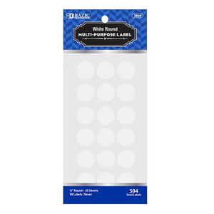 "BAZIC White 3/4"" Round Label (504/Pack)"