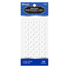 Load image into Gallery viewer, BAZIC White Round Reinforcement Label (544/Pack)