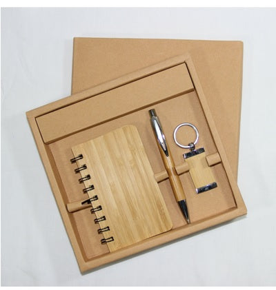 Eco Friendly Bamboo Notebook, Pen and Keyring
