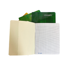 "Load image into Gallery viewer, Champs Exercise Book With Clear Jacket Cover - Chequered Line - 8"" x 6¼"" - 28shts / 56pgs"