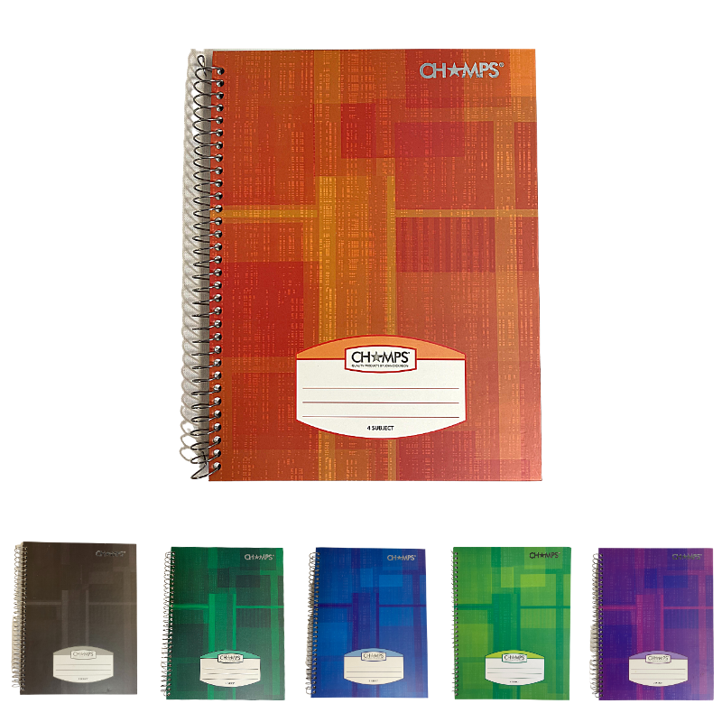 Champs Hard Cover 4 Subject Spiral Notebook - 10½ x 8¾