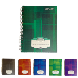 Champs Hard Cover 5 Subject Spiral Notebook - 10½ x 8¾
