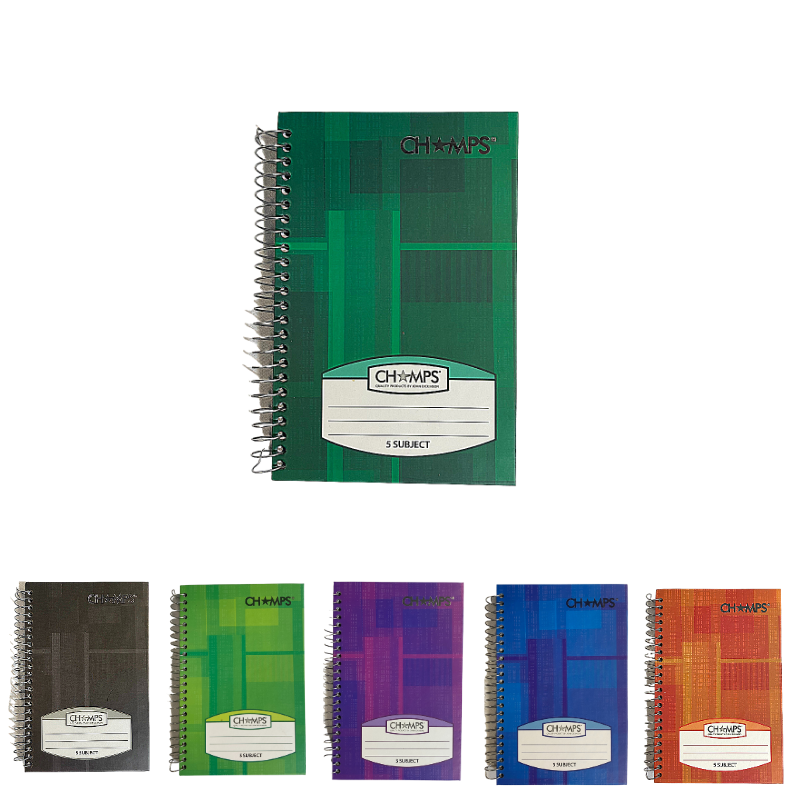 Champs Hard Cover 5 Subject Spiral Notebook - 8 x 5¼