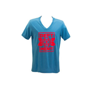 Deftment - V-Neck T-Shirt (S) Blue