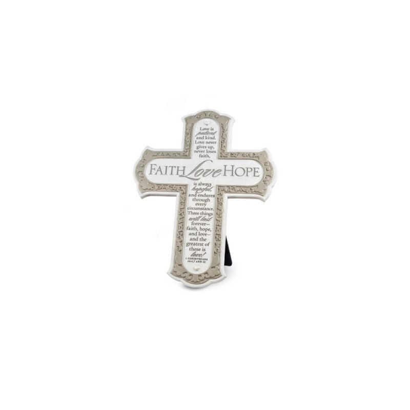 Faith Love Hope Cross with Easel & Wall Hook