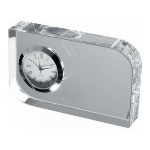 Personalised Glass Block with Small Clock