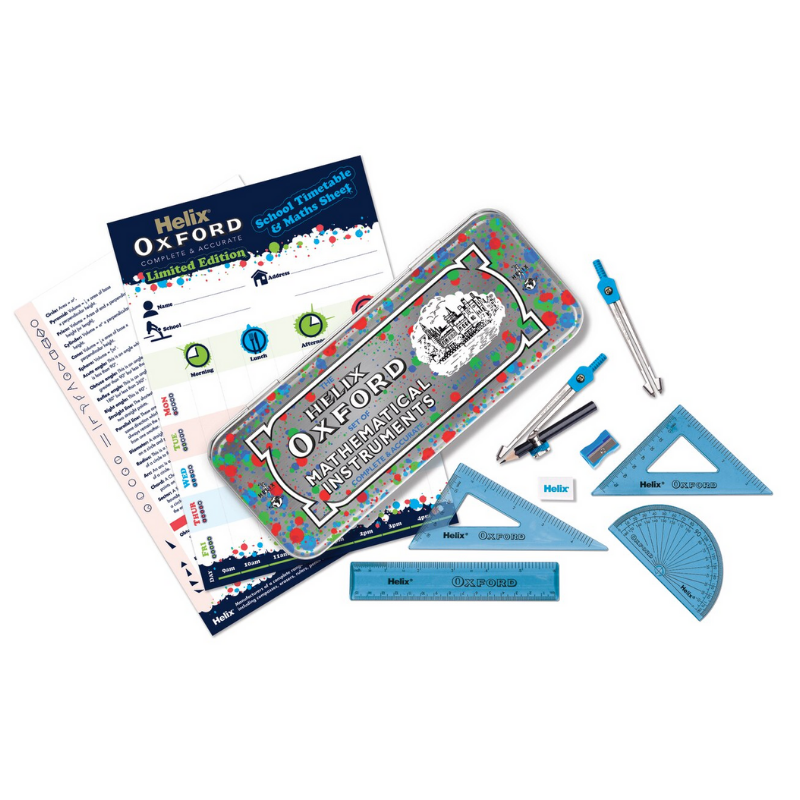 Helix Oxford Splash Math Set with Timetable - Blue