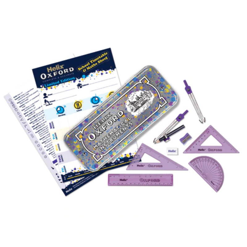 Helix Oxford Splash Math Set with Timetable - Purple