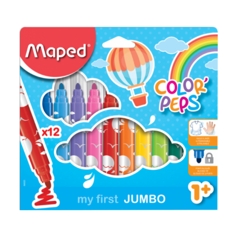 Maped Color Peps My First Jumbo Safety Tip Ultrawashable Markers (24 Pack)