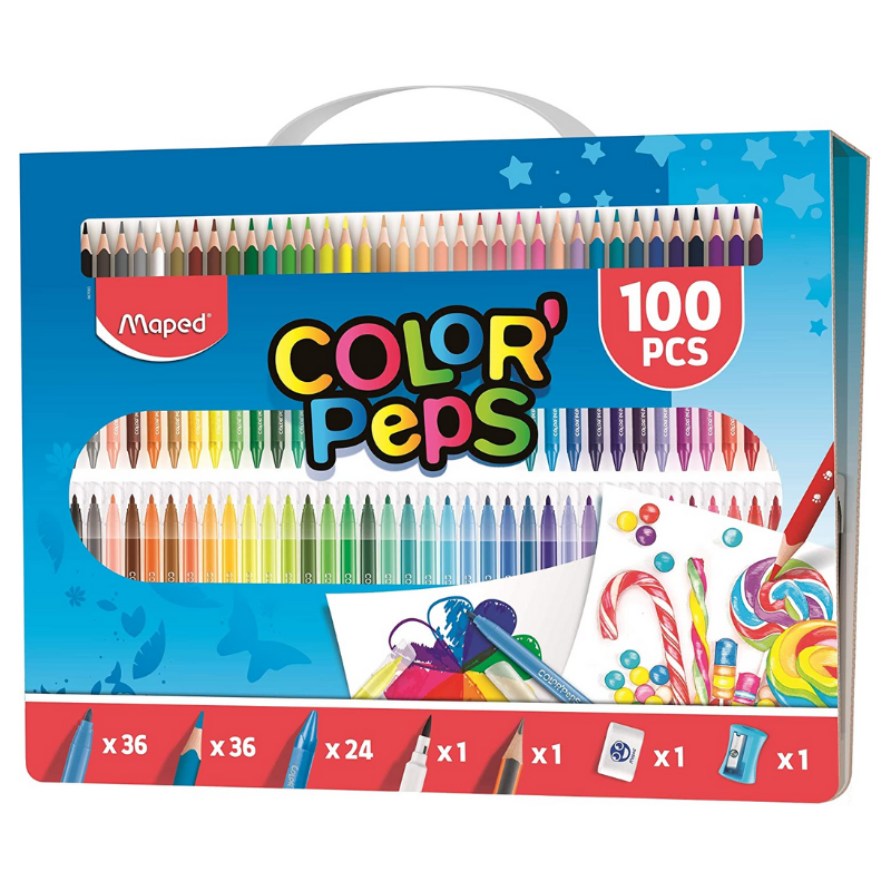 Maped Color' Peps 100pc Colouring Kit & Carry Case