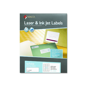 "Maco 1""X2-5/8"" Laser Labels (3000/Pack)"