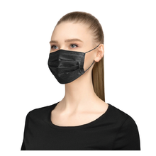 Load image into Gallery viewer, Black 3-Ply Disposable Face Masks – Pack of 10