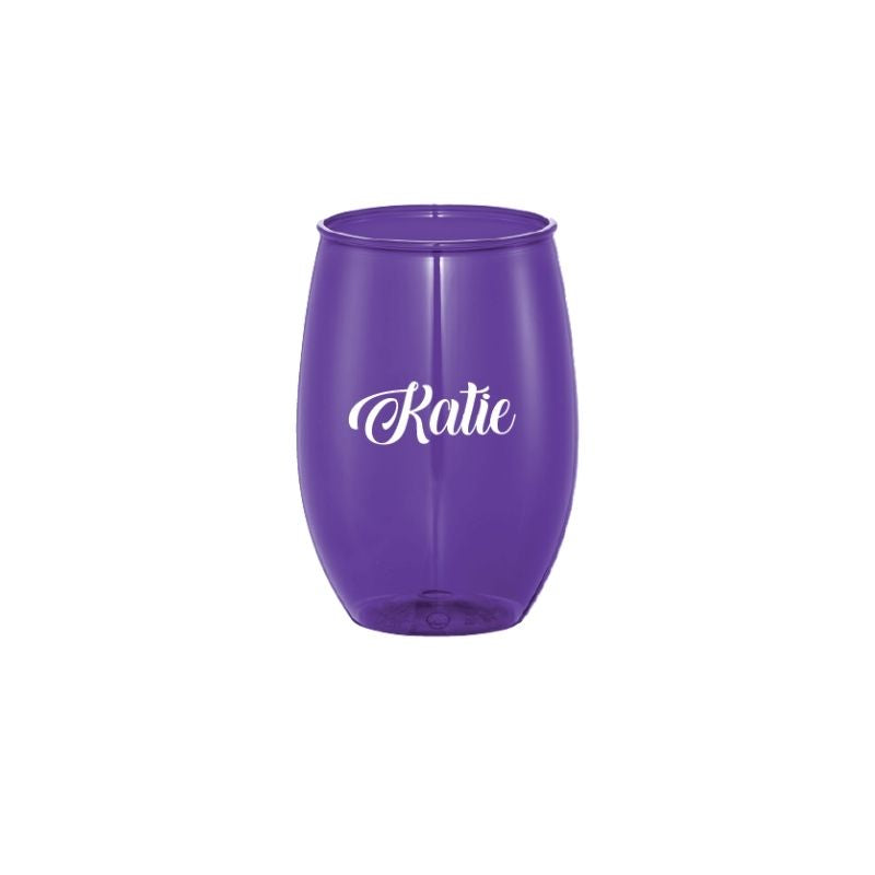 Personalised 15oz Stemless Wine Cup - Purple