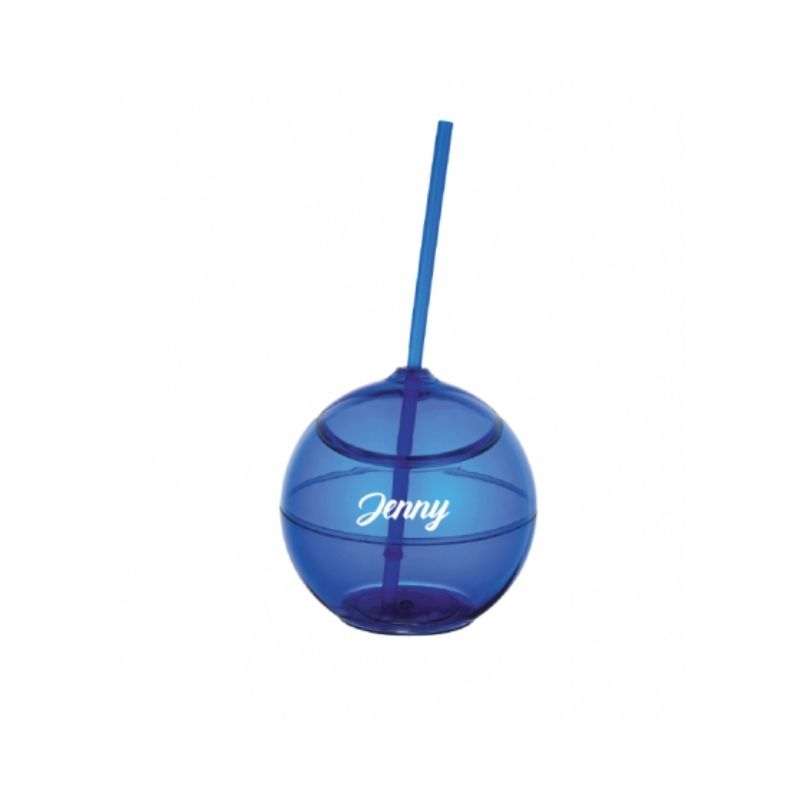 Personalised Fiesta Ball with Straw - Blue
